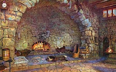 Above: Hermit's Rest fireplace, one of 10 Grand Canyon postcards from paintings by Gunnar Widforss published in 1932 by Fred Harvey. NPS Museum Collections<br /><br /><!-- 1upcrlf2 -->