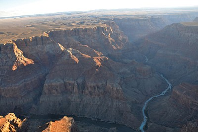 Looking down and to the east on the confluence of the Colorado and Little Colorado Rivers. Photo/NPS