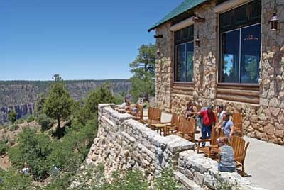 North Rim visitors take in the views at the lodge. Photo/WGCN