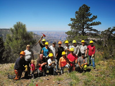 Volunteers from the Memorial Day weekend Rainbow Rim Trail extension project. Cassie Hagemann/U.S. Forest Service, North Kaibab Ranger District, Kaibab National Forest.<br /><br /><!-- 1upcrlf2 -->
