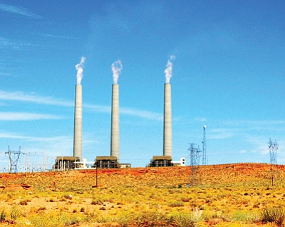 The share of energy produced by coal-burning power plants, like the Navajo Generating Station, shown here, would be reduced in favor of natural gas generation and renewable sources over the next 15 years under an EPA plan to reduce carbon emissions. Photo/R.J. Hall via Wikipedia Commons.