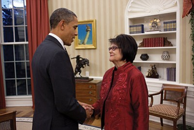 President Barack Obama in the Oval Office in 2010 with Elouise Cobell, the lead plaintiff in class-action lawsuit against the federal government for mismanagement of Indian trusts. It was settled in 2012 for $3.4 billion. Pete Souza/The White House