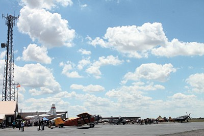 The public enjoy themselves with ongoing activities throughout the day at the 10th Annual Thunder over the Coconino X Fly-In, starting with watching different aircraft take off and circle the Valle airport. Loretta Yerian/WGCN<br /><br /><!-- 1upcrlf2 -->