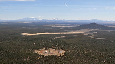 The Canyon Mine in the Kaibab National Forest south of the Grand Canyon, opened in the 1980s, is shown from the air. Photo/Tara Alatorre
