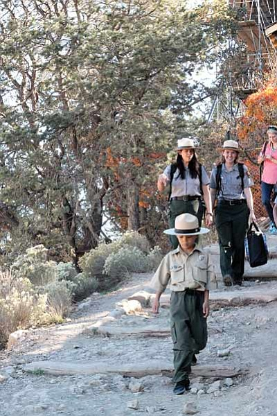 Ranger Gabriel hikes Bright Angel Trail in search of pictographs. Loretta Yerian/WGCN