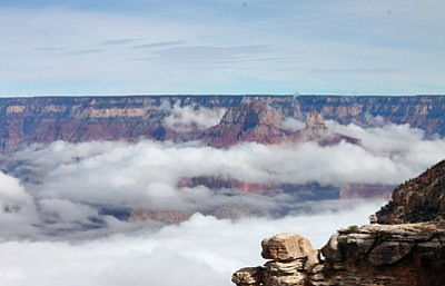 GRAND CANYON, Ariz. - A rare cloud inversion at the Grand Canyon occurred for the second time in six months, Jan. 28. Loretta Yerian/WGCN