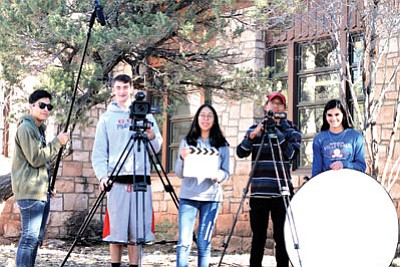Videography I film class take time to set up for a shot. From left: John Morfin, Tyler Jones, Traci Curley, Julian Cly and Ellie Perkins not pictured Jorge Valerio Del Villar. Loretta Yerian/WGCN