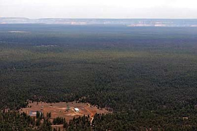 The Canyon uranium mine is around six miles from the south rim of Grand Canyon. Photo/Bruce Gordon, Ecoflight.