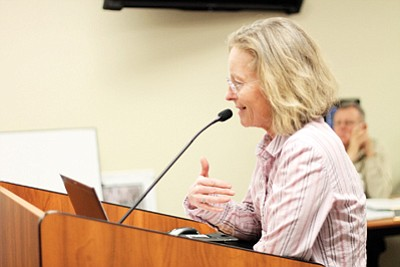 Executive Director of Grand Canyon Wildlands Council Kelly Burke addressed council member's questions at the March 4 town council meeting. Loretta Yerian/WGCN