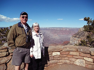 Dick and Leanne Preston from Hamlin, New York visit the Canyon with the Merles. Photo/Mary Merle