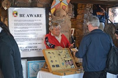 Tony Eriacho displays and sells traiditional pieces of jewelry. Photo/Maci MacPherson, NPS