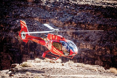 An EC130 Papillon helicopter prepares for liftoff at the Grand Canyon. Photo/Papillon Group