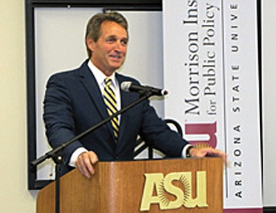 U.S. Sen. Jeff Flake addresses a forum on water.<br /><br /><!-- 1upcrlf2 -->Photo/Emily Mahoney<br /><br /><!-- 1upcrlf2 -->