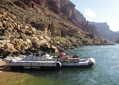The first alternative motor boat river trip propelled by a hybrid-electric motor traveled the entire distance of the Colorado River through the Grand Canyon Aptil 4-10.  Photos/Grand Canyon River Outfitters Association