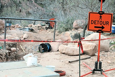 A portion of the Trans-Canyon Water Pipeline under repair. Loretta Yerian/WGCN