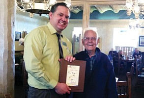 Bright Angel Restaurant Manager Paul Riley and 1949 former Bright Angel employee Tom Hand. Photo/ Kelly Noble<br /><br /><!-- 1upcrlf2 -->