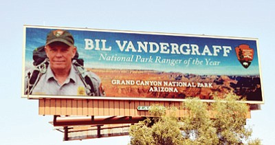 Ranger of the Year, Bil Vandergraff's billboard is located in Phoenix.  Photo/Ken Klein Outdoor Advertising Association of America