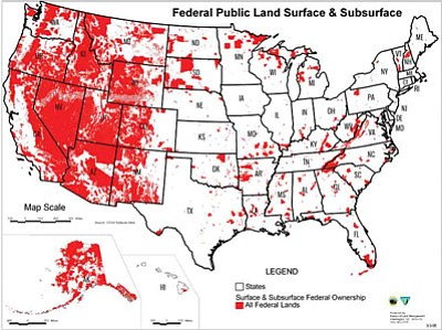 Red portions of the map show percentages of federally controlled land in each state.   Photo/American Lands Council