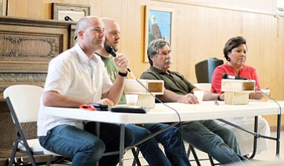 Sierra Club Executive Director Michael Brune (left) hosts the veterans panel in Flagstaff, June 19. Loretta Yerian/WGCN