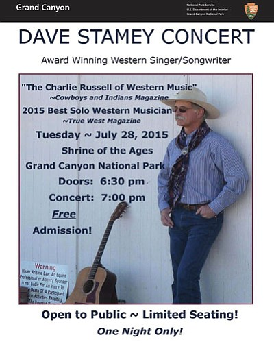 Western singer and songwriter Dave Stamey will provide a free concert at Grand Canyon's Shrine of the Ages on July 28 at 7 p.m. Photo/NPS