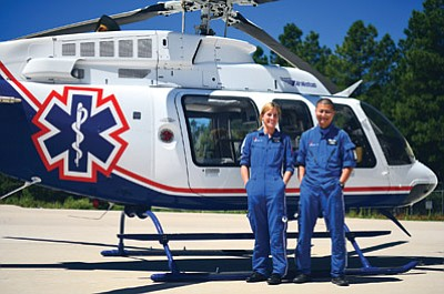 Guardian Air's Flight Nurse Lindsay Almond and Flight Medic Junji Sakai responded to a call at Grand Canyon Airport March 8. Photo/Guardian Air