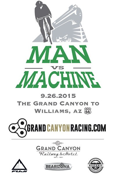 Man vs. Machine race starts in Tusayan and follows Highway 64 to Williams Sept. 26. Photo/Man v. Machine promo<br /><br /><!-- 1upcrlf2 -->
