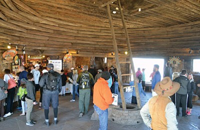 Visitors enjoy new renovations and cultural demonstrations at the Desert View Watchtower in April. Photo/Maci MacPherson, NPS