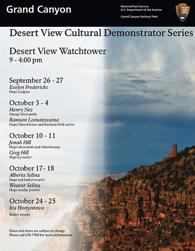 Desert View Cultural Demonstrations will go through Oct. 25. Photo/NPS