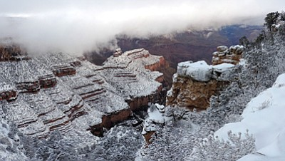 The South Rim of Grand Canyon after a recent snowfall. Photo/Mike Quinn, NPS
