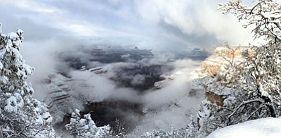 A week of cold winter storms hit the Grand Canyon last week, causing the National Park Service to close some roads because of to winter weather conditions. Photos/NPS