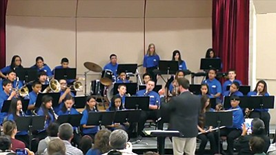 Band Director Bently Monk directs the Grand Canyon School band. Photo/courtesy of Grand Canyon School Videography