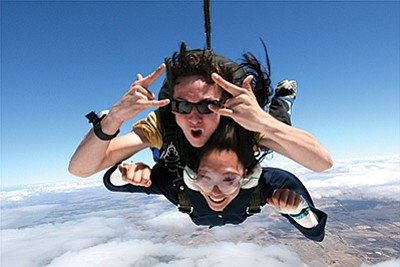 On March 1 Paragon Skydiving in Tusayan will offer tandem skydiving similar to the picture above. Photo/Paragon Skydiving