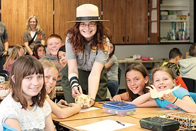 Grand Canyon Ranger Sarah Brimeyer analyze the teeth of an animal skull to determine if the animal eats meat with fifth grade students at Williams Elementary-Middle School. Loretta Yerian/WGCN