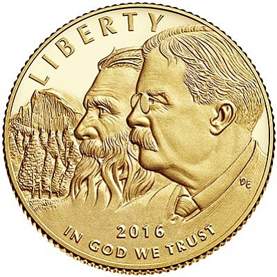 The front side of the National Park Service 100th Anniversary Commemorative Coin Program features John Muir and Theodore Roosevelt with Yosemite National Park's Half Dome in the background. Photo/courtesy of usmint.gov