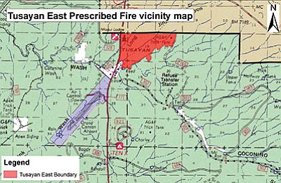 A 264-acre burn on the Tusayan East Prescribed Fire Project starts April 3 with smoke warnings in effect for several days afterwards. Photo/Kaibab National Forest