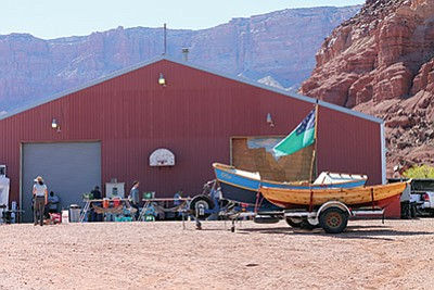Commercial River guides and outfitters, National Park Service representatives and members of the Grand Canyon river community gather every year at the Hatch Warehouse in Marble Canyon for training and to kick off the commercial river running season. Loretta Yerian/WGCN