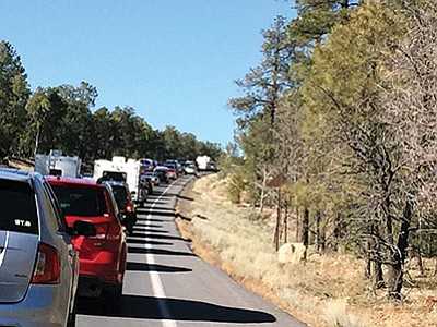 Visitors to Grand Canyon wait in a mile long line before reaching the entrance gates to the national park. Photo/Loretta Yerian