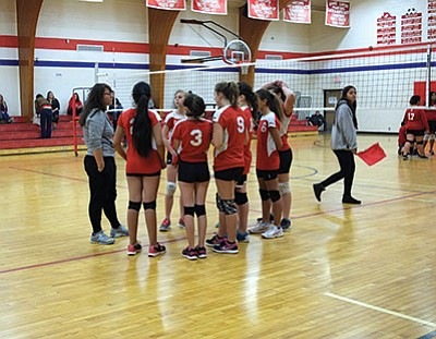 B team coach Leann Martinez talks to her team during half time. End of season tournaments for Grand Canyon take place April 23 in Ash Fork and Seligman. Loretta Yerian/WGCN