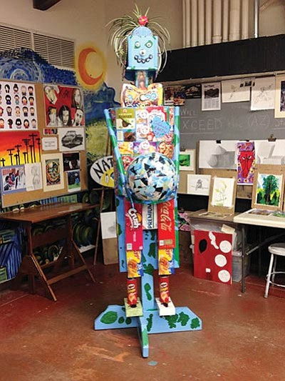 The Earth Day sculpture created by the Grand Canyon School art class. Photo/Mary Anne Cataldi