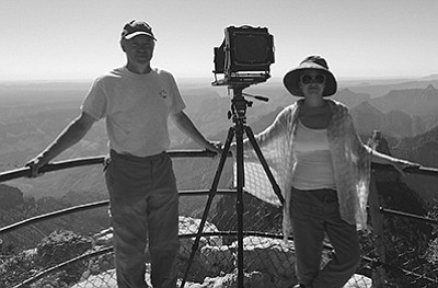 Grand Canyon Artist in Resident Robert Langham and wife, Katie, find themselves on the opposite end of the lens during Langham's two week residency on the North Rim. Loretta Yerian/WGCN