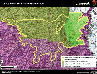 Potential multi-jurisdiction landscape for wild free-ranging bison at Kaibab National Forest, House Rock Wildlife Area and Grand Canyon National Park. A multi-jurisdictional bison range of around 215,000 total acres, comprised of about 54,000 acres on Grand Canyon National Park and about 161,000 on the Kaibab National Forest. Photo/NPS