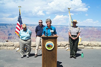 From left: Intermountain Regional Director Sue Masica, National Park Service Director Jon Jarvis and Secretary of the Interior Sally Jewell introduces Grand Canyon's new Superintendent Christine Lehnertz (right). Loretta Yerian/WGCN