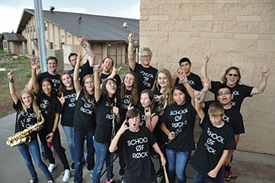 Grand Canyon School students get ready to rock in their first School of Rock performance. Photo/Cyndi Moreno