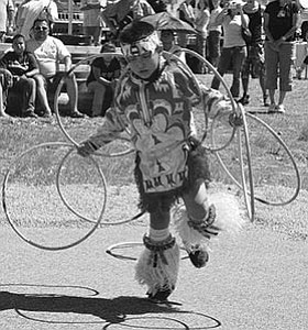 Tyrese Jensen competes in last year's hoop dance competition.