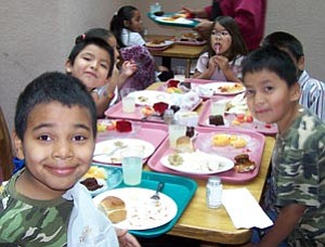 Grand Canyon elementary students were guests at the Quality Inn last week for the annual Thanksgiving feast. The Quality hosts the event free each year for students in grades kindergarten-five.