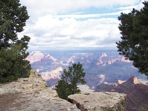 Pipe Creek Overlook is just one of the places you can find spectacular views along the Rim Trail.<br>