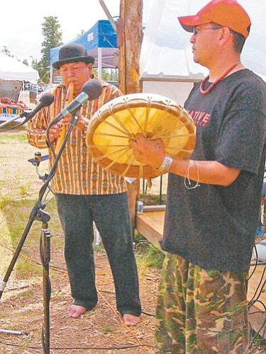 Kelvin Long and fellow-activist and hip-hop artist Gabriel Yaiva, also known as Native Renaissance, perform. The duo took second place.