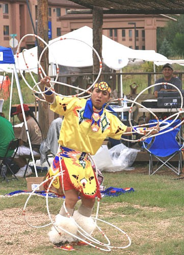 This year's Hoop Dance Grand Champion Tony Duncan performs.