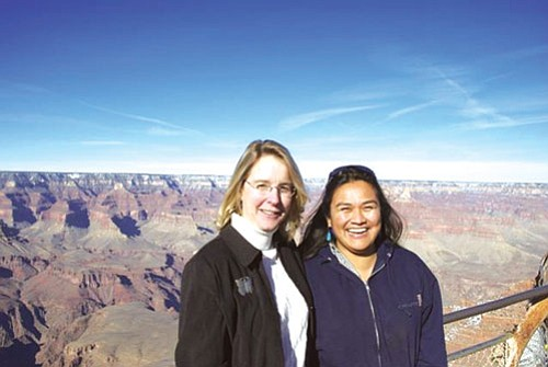 Joëlle Clark (left), program director for Native Voices on the Colorado River, coordinates with Nikki Cooley, Diné river guide and San Juan River Basin project coordinator, for the Ecological Monitoring and Assessment Foundation.