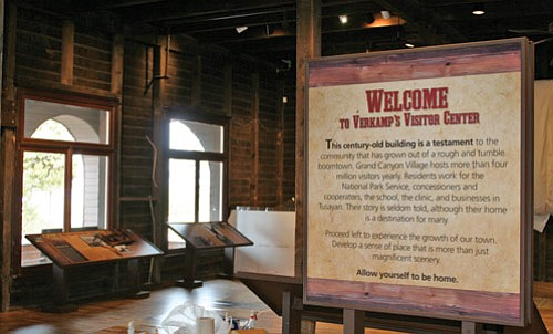 These displays are part of a new interpretive exhibit on the community that is housed in the Verkamp's building.